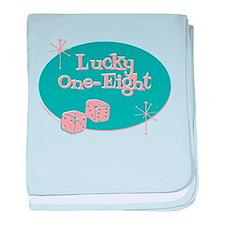 Lucky 18 Retro Jewish baby blanket
