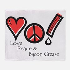 Love Peace and Bacon Grease Throw Blanket
