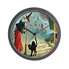 Vintage Halloween Witch Black Cat Wall Clock