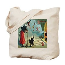 Vintage Halloween Witch Black Cat Tote Bag