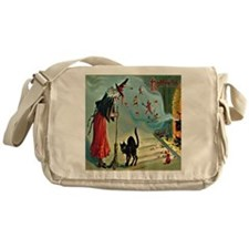 Vintage Halloween Witch Black Cat Messenger Bag
