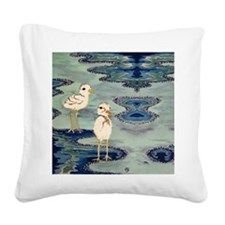 Love Snowy Plovers Love Shore Square Canvas Pillow