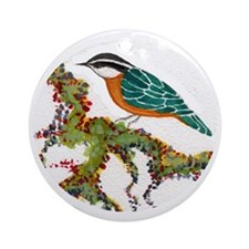Love Nuthatches Love Birds Round Ornament