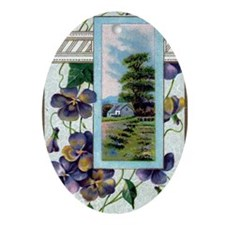 A Happy Birthday Violets Oval Ornament