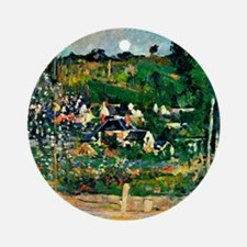 Cezanne - View of Auvers Round Ornament