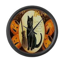 Vintage Halloween Jack O Lantern  Large Wall Clock