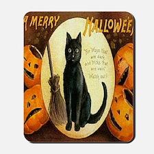 Vintage Halloween Jack O Lantern Black C Mousepad