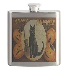Vintage Halloween Jack O Lantern Black Cat Flask