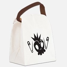 Rock skull mohawk with safety pin Canvas Lunch Bag