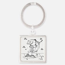 Will Work For Clean Water Square Keychain