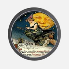 Vintage Halloween Witch Broom Full Moon Wall Clock