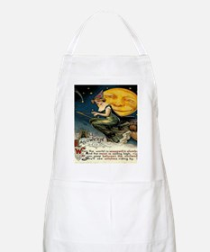Vintage Halloween Witch Broom Full Moon Apron