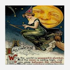 Vintage Halloween Witch Broom Full Mo Tile Coaster