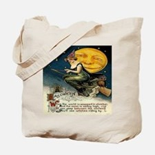 Vintage Halloween Witch Broom Full Moon Tote Bag