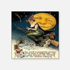 "Vintage Halloween Witch Bro Square Sticker 3"" x 3"""