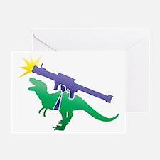 Tyrannosaurus Rex with a rocket gren Greeting Card