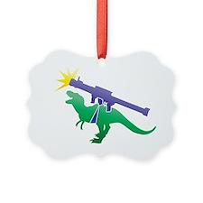Tyrannosaurus Rex with a rocket g Ornament