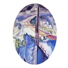 Delaunay - The Spire of Notre Dame.  Oval Ornament