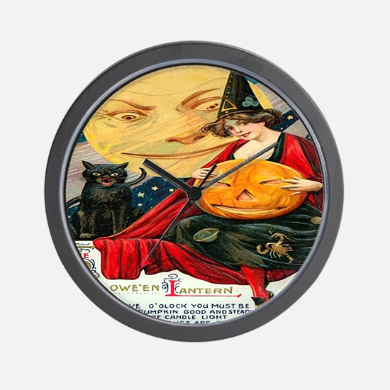 Vintage Halloween Witch Black Cat Moon  Wall Clock