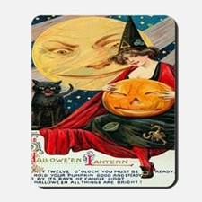 Vintage Halloween Witch Black Cat Moon P Mousepad