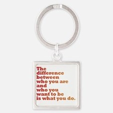 The Difference (red/orange) Square Keychain