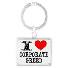 I Heart Corporate Greed Landscape Keychain