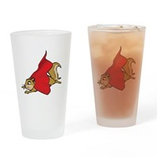 Flying Super Squirrel with Red Cape Drinking Glass