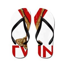 V Twin motorcycle red Flip Flops