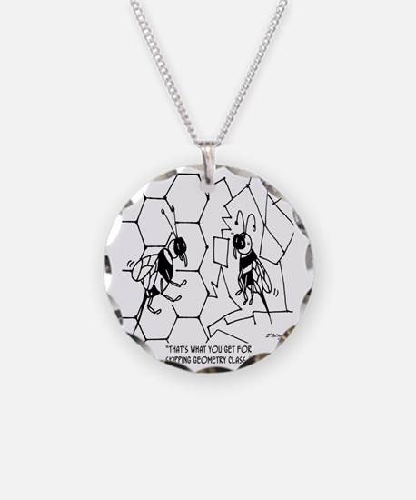 Bee Skips Geometry Class Necklace Circle Charm
