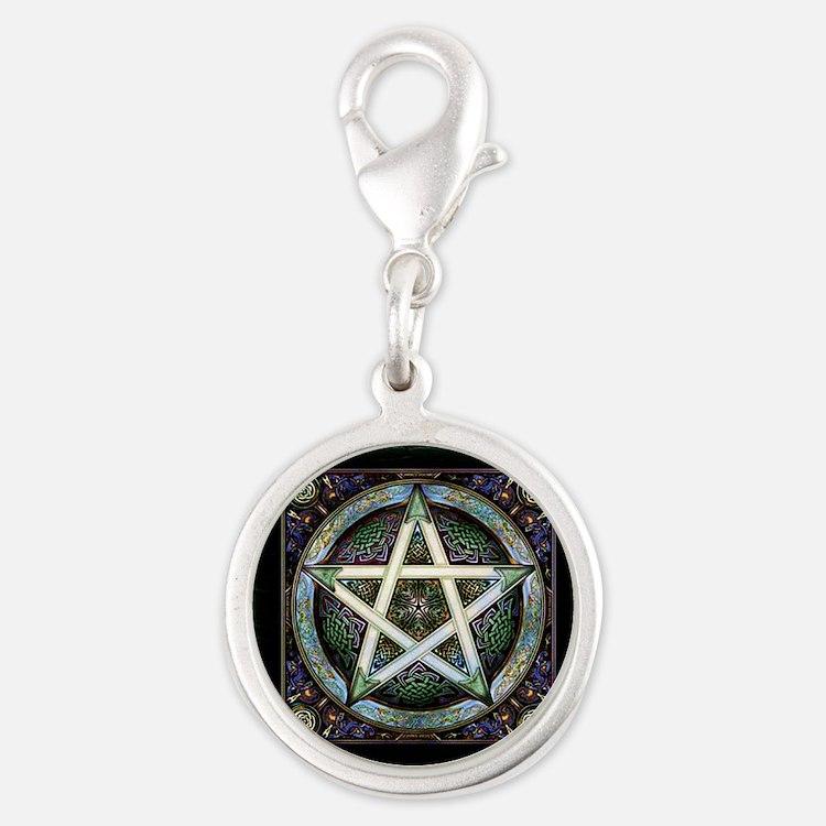 Pentagram Silver Round Charm