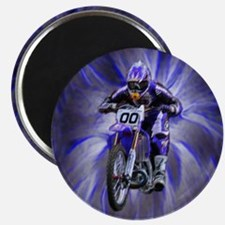 Dirt biker blasting thru blue Magnet
