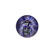 Dirt biker blasting thru blue Mini Button