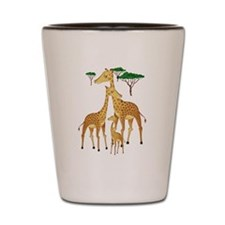 Giraffe Family with Acacia Trees Shot Glass