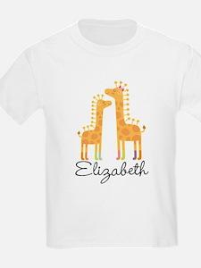 Personalized Girls Giraffe Animals T-Shirt