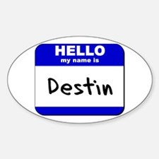 hello my name is destin Oval Decal