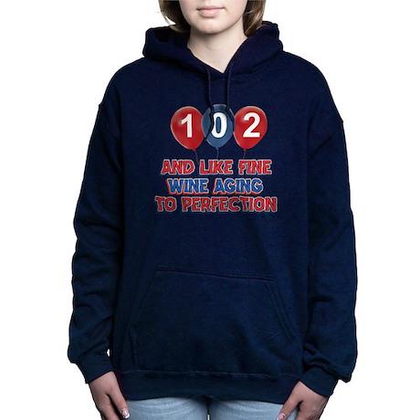 102nd birthday designs Hooded Sweatshirt