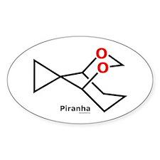 Piranha fish molecule Oval Decal