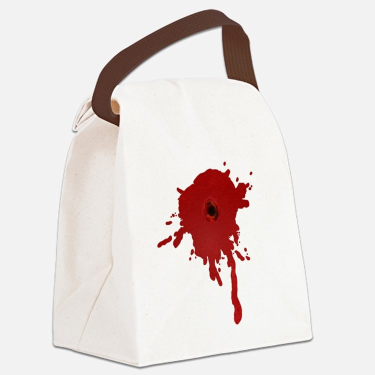 Bullet Hole With Blood Canvas Lunch Bag