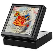 White Rabbit of Hearts Keepsake Box