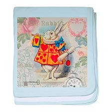 White Rabbit of Hearts baby blanket
