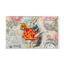 White Rabbit of Hearts Rectangle Car Magnet