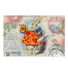 White Rabbit of Hearts Postcards (Package of 8)