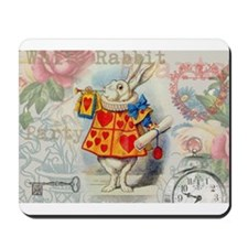 White Rabbit of Hearts Mousepad