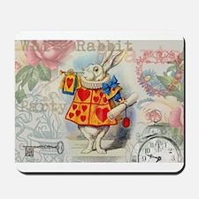 White Rabbit of Hearts Mousepad