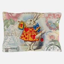 White Rabbit of Hearts Pillow Case