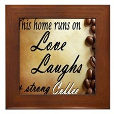 love laughs strongcoffee Framed Tile