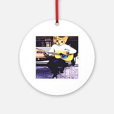 Street Cat Music Round Ornament