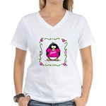 Mom Penguin Women's V-Neck T-Shirt