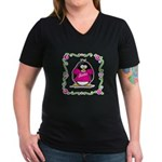 Mom Penguin Women's V-Neck Dark T-Shirt