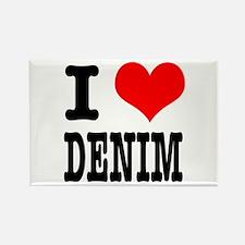 I Heart (Love) Denim Rectangle Magnet
